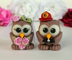 Owl cake topper hand made love birds for wedding by PerlillaPets, $65.00.  Can we say adorable?!