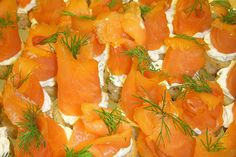 smoked salmon rosettes with herbed cream cheese and dill on a rye round     Like It!