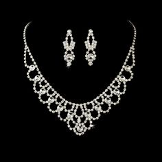 Elegant Rhinestone Wedding or Prom Jewelry Set - Affordable Elegance Bridal -