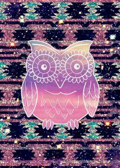 Aztec owl glitter
