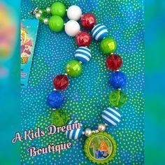 Sleeping Beauty Aurora Bead Necklace - Girls Bubblegum Chunky