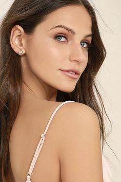 Lovely Gold Earrings - Rhinestone Earrings - $16.00