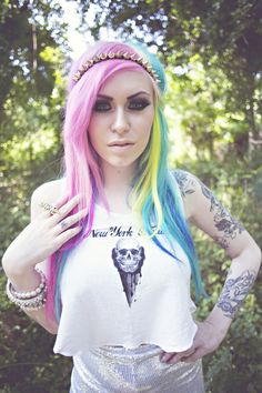 pink, purple, blue, yellow hair (and a spikey head band)