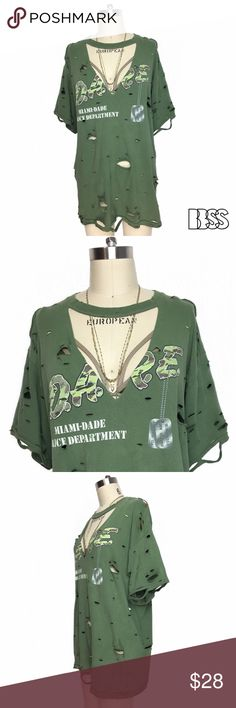 """CHOKER/COLLAR DEEP V DISTRESSED D.A.R.E. TSHIRT!! CHOKER/COLLAR DEEP V DISTRESSED D.A.R.E. TSHIRT!! Awesome vintage DARE CAMO LOGO tee from MIAMI! Dog tags hanging from logo reads """"to resist drugs and violence"""". Great light olive military green 100% COTTON fabric with heavy distressing all over! Top is super worn in and extremely comfortable! OVERSIZED silhouette with DEEP V is very flattering and fun to style! Measurements - LENGTH: 28.5' / BUST: 22' Marked size LARGE. #handmade #selfmade…"""