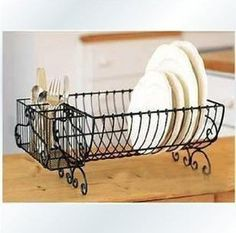 Rustic fashion iron crafts home decoration Wrought iron kitchen plate storage rack-inStorage Holders \u0026 & Wrought Iron Dish Drainer Rack | Standing Wire Dish Rack ...