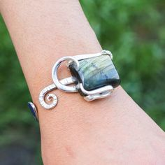Recycled Silverware Jewelry Labradorite Silver Fork Bracelet OOAK