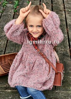 Для девочки 2-8 лет. Розовое платье с пышной юбкой и пышными рукавами. Вязание спицами для детей