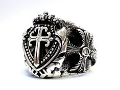 Men's 14K Gold  Shield Cross Ring  With Diamonds by SacredAngels