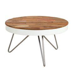 d-Bodhi Tottenham salontafel-∅ 60 cm-Band wit. blad van hout met kleuren. Andere diameters beschikbaar. Poten zilver gespoten draadstaal. €189