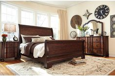 Brown Hadelyn King Sleigh Bed View 4