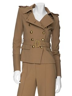 """Rachel Zoe military jacket. Alternate views better show the details including the brass buttons that run the length of the 7"""" topstitched cuffs."""