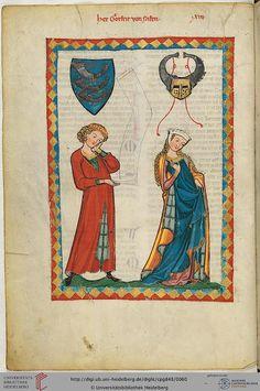 Codex Manesse, Herr Gottfried von Neifen, Fol 32v, c. 1304-1340