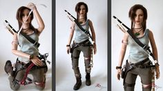 Custom Lara Croft doll (from a Tonner doll) based on Lara from the new Tomb Raider 2013 video game. By the immensely talented Laragwen! She is also a terrific doll photographer!