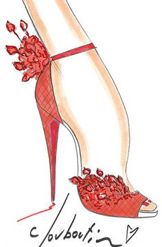 Happy 20  ~Louboutin~ #bocetos #sketch #zapatos  Barbie would be first in line for these beauties