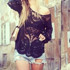 ROMWE Hollow-out Lace Crochet Black Blouse