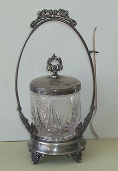 Victorian Quadruple Silver Plate Pickle Castor with Glass Jar