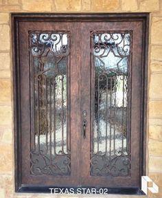 http://porteusa.com/ Wrought Iron Double Door - Texas Star 2 by Porte, Color Light Bronze, Flemish Glass