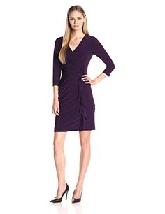 Kasper Womens 34 Sleeve Fitted Cascade Ruffle Solid Ity Dress Concord 6 * You can find more details by visiting the image link.