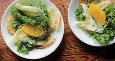 "Fennel and Orange Salad with Lemon-Ginger Vinaigrette - Typically steamed or sautéed, fresh mustard greens are also great raw and simply dressed. ""I like the strength they give to salads,"" says chef Frederik de Pue, of Table, Washington, D.C."