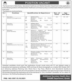 Specialized Healthcare and Medical Education Department Balochistan Jobs 21021