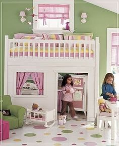 One fun looking little girl bedroom - Don't like the Colors but that bed/playhouse is really cool.