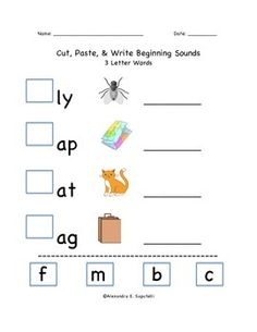 Includes 20 Cut and Paste Worksheets: -Beginning Sounds for 3 Letter Words -Beginning Sounds for 4 Letter Words -Beginning Blends Students use picture clues to match the beginning letters of words. Then, the students practice writing the words next to the pictures. Great for phonics skills, spelling, and basic comprehension skills.