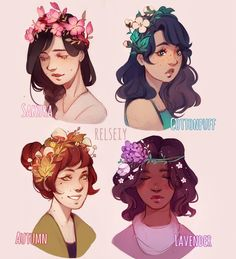 "Which is your fav FLOWER CROWN?  same as my hairstyle thing but now with themed ""flower"" crowns....more like Nature crowns? Idk what to call them  but anyway if you havent guess already from my older stuff too i like making flower crowns from not just flowers but plants, mushrooms etc so these are some of my ideas right now.  #flowercrown #digitalart #كلنا_رسامين"