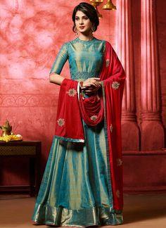 Blue and Red Embroidered Banarsi Silk Anarkali
