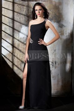 Elegant A-Line One-Shoulder Floor-Length Polina's Evening Dress