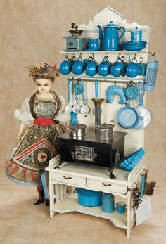 1880 German toy enamelware set