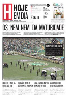 Capa do dia 04/12/2016 #HojeEmDia #Jornal #Notícias #News #Newspaper