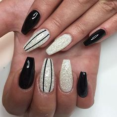 If you're sick of plain round nails and the formal look of square nails, coffin nails are an excellent in-between look. newest coffin nails designs Matte Nails, Stiletto Nails, My Nails, Acrylic Nails, Black Nail Designs, Nail Art Designs, Nails Design, Casket Nails, Silver Glitter Nails