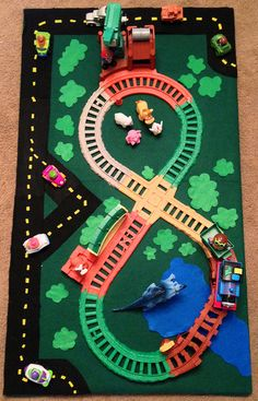 DIY Train Board for a young toddler -- super simple felt top