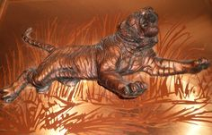 LARGE Vintage Retro METAL 3D Sculpture TIGER Wall Picture STUNNING