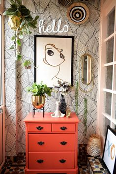 Get ideas and inspiration with the reveal of my quirky boho entrance porch makeo. Get ideas and inspiration with the reveal of my quirky boho entrance porch makeover. Porch Interior, Interior S, Decor Interior Design, Interior Decorating, Palm Leaf Wallpaper, Of Wallpaper, Quirky Wallpaper, House Front Porch, Porch Makeover