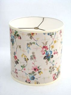 Drum Lamp Shade in Multi-color Floral & Hatch 1930's by Fondue