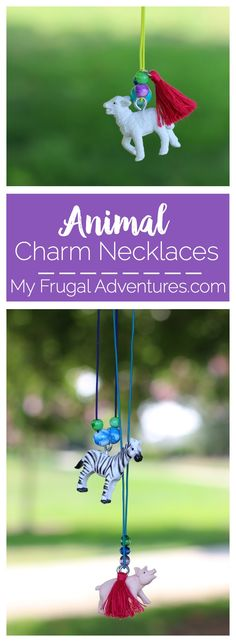 Simple and fun children's craft idea- DIY animal charm necklaces.  Perfect party craft or rainy day project.