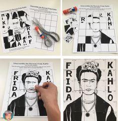 Free Frida Kahlo coloring, drawing and unscramble activities.