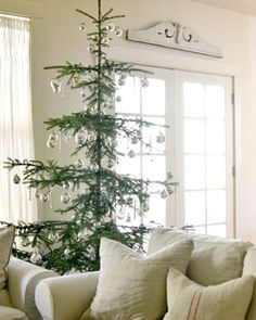 french country decor ideas for living room Cottage Christmas, Noel Christmas, Rustic Christmas, Winter Christmas, All Things Christmas, Noble Fir Christmas Tree, Minimalist Christmas Tree, Types Of Christmas Trees, Country Christmas Trees
