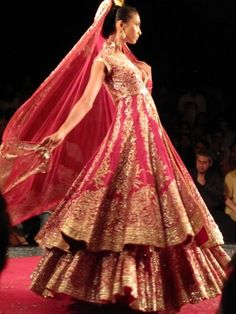 Indian bridal lehenga - I love the double layers Cheap Wedding Dresses Uk, Wedding Dress 2013, Cheap Dresses, Bridal Dresses, Wedding Prep, Dresses 2013, Wedding Outfits, Dream Wedding, Indian Dresses