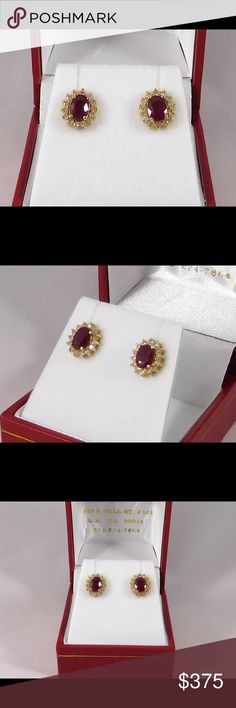 Ruby & Diamond Earrings. Cluster/Halo Style Beautiful ruby cluster earrings with a halo of diamonds. 1ct Total Weight of oval Ruby and 0.30 carats of diamonds. Set in 14 karat yellow gold setting with butterfly pushback fastening. Ritz Jewelers in Los Angeles Jewelry Earrings