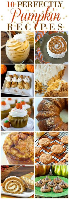 These 10 Perfectly Pumpkin Desserts would be great for any fall get together, but especially Thanksgiving!   Pumpkin Recipes   Thanksgiving Recipes