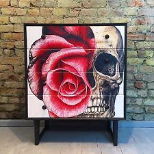 Upcycled Vintage Retro Meredew Chest Of Drawers Solid Wood Skulls Decoupage Funky Painted Furniture, Decoupage Furniture, Paint Furniture, Upcycled Furniture, Unique Furniture, Shabby Chic Furniture, Furniture Makeover, Vintage Furniture, Skull Furniture