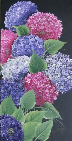 von Hortensien auf in Acryl Sandy McTier, Tole Painting, Fabric Painting, Art Floral, Watercolor Flowers, Watercolor Art, Hydrangea Painting, Easy Paintings, Acrylic Art, Flower Art