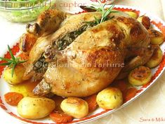 » Pui umplut la cuptorCulorile din Farfurie Carne, Food And Drink, Turkey, Chicken, Meat, Food, Zucchini, Carne Asada, Turkey Country