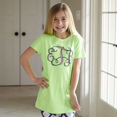 Girls Lime With Navy & Pink Initials Tee