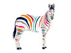 Stampa — Limited edition affordable art prints, Loving this Zebra Print Art And Illustration, Rainbow Zebra, Art Plastique, Oeuvre D'art, Design Art, Art Photography, Illustrator, Cute Animals, Stripes