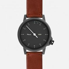 M24 NOIR WATCH ON BROWN LEATHER STRAP