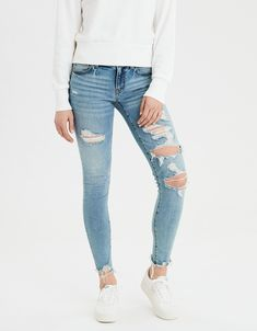 Shop at American Eagle for Jeggings that look as good as they feel. Browse our jeggings in different rises (from low to highest), in different washes and stretch levels. American Eagle Jeggings, American Eagle Outfitters Jeans, Ripped Jeans, Skinny Jeans, Women's Jeans, Designer Jeans For Women, Cute Jeans, Best Jeans, Mens Outfitters