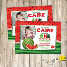 Digital Watermelon birthday invitation. Printable watermelon